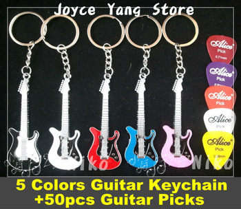 ST Style Electric Guitar Keychain(5 Colors)+50pcs Acoustic Electric Guitar Picks Plectrums Free Shipping