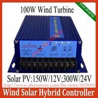 Free Shipping,Max 400W Hybrid Wind Solar System Controller for 100W wind turbine+150W/12V Solar Panel(300W/24V),LED display