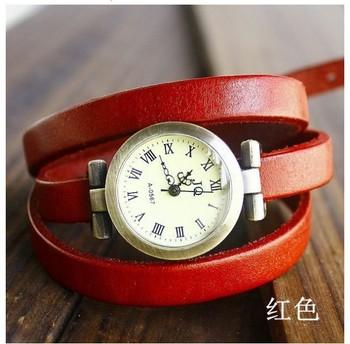 2013 New punk wholesale vintage Genuine Cow leather fashion Wrap Women watch ladies wrist twine watch wrist  watch