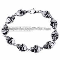 Topearl Jewelry 316 Stainless Steel Skulls Link Bracelet Silver & Black MEB121