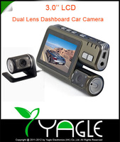 2013 New HD 720p H.264 Dual Lens Car DVR Camera Recorder G-Sensor w/3.0&#39; LCD