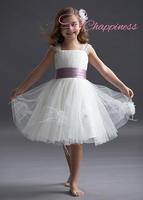 Hot Selling Short Length Sash Satin Tulle Flower Girl Dresses Kids Dresses