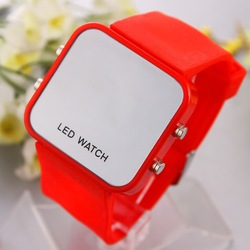 Fashion LED watches 12colors Unisex Digital mirror display Silicone strap LJX09(China (Mainland))