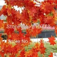 60PCS Red maple leaf  vine artificial red maple vine  home supermarket restraunt decoration