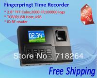 "RT-030 Fingerprint Time Attendance 2.8""TFTwide screen+2000 FPS+100000logs+RF reader ID/IC+USB/TCP/IP+USB host+SDK support"