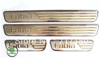 2008-2012 Skoda Fabia stainless steel scuff plate door sill door sill plate 4pcs/set car interior accessories