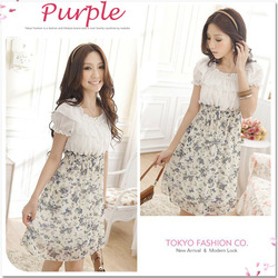 1 Piece Free Shipping Ladies Cute Dresses Women Dress Floral Chiffon Dress Red/Apricot/Purple Color,One Size,85CM Lenght,GB11960(China (Mainland))