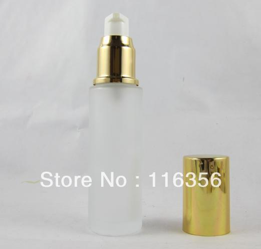 50ML frosted glass bottle with gold cap, lotion bottle for cosmetic packaging(China (Mainland))