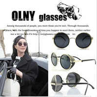 2013 European American Korea Popular Steampunk Sunglasses Lady Gaga BingBing Fan Same Model Sun Eyewear Round Prince sun glasses
