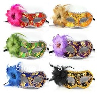 free shipping party supplies party /Masquerade/wedding/  masks beautiful cloth paillette flower mask
