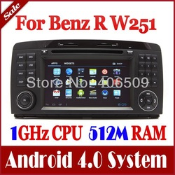 Android 4.0 Auto Radio Car DVD Player GPS Nav for Mercedes Benz R Class W251 R280, R300, R320, R350, R500 with Audio TV 3G WIFI(China (Mainland))