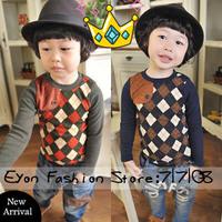 2014 new arrival wholesale 5 pieces/lot cowboy leather botton plaid kids boy longsleeve tee children T shirts