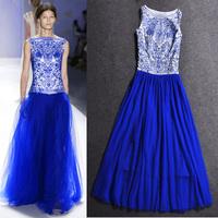 2014 Spring Summer Fashion Runway Silk Elegant European Sleeve Brand Embroidery Long Dress Women
