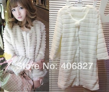 2013 medium-long overcoat new Faux fur coat three quarter sleeve faux outerwear