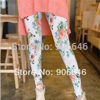 New Fashion Knitting K157 2014 spring leggings women's flower prints elastic casual panty girdle wholesale retail FREE SHIPPING
