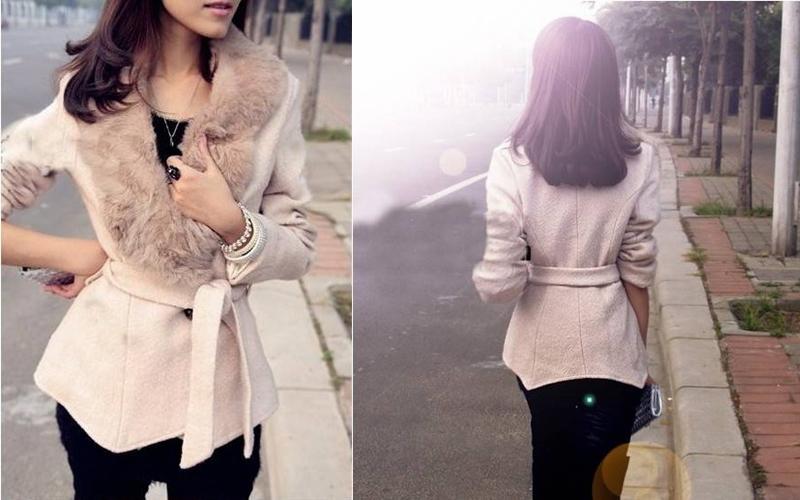 2014 Women's Autumn Winter Fur Collar Large Lapel Slim All-match Woolen Casual Outerwear Coat With Belt G611