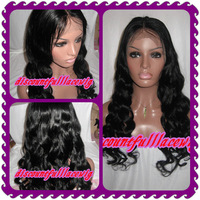 "AAAAA 2013 Free Shipping  Virgin Hair 22"" #1 Fashion Curly Chinese Virgin Hair Full Lace Wig with bangs"