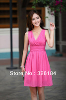 Lovely Double V-neck Sleeveless  Chiffon Dress Free Shipping 2013 Summer New Fashion Elegant Women Dress Ladies Pleated Dress