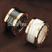 14k rose gold plated classic rings/white,black rings