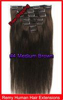 "20"" 22"" Clip In Virgin Remy Human Hair  Extensions #4 Medium Brown 100g"