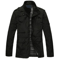 2013  Black and Khaki Men Trench Coat Jacket Raincoat  Outwear Autumn Winter High Quality Best -selling Free shipping!