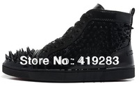 Free shipping top leather lace-up spikes sneakers for men basketball shoes