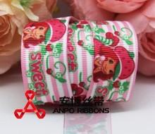 """Frete Grátis 7/8 """"acessório fita roupas acessórios menina doce de morango 22 milímetros Grosgrain do presente da fita impressão em fita de cabelo(China (Mainland))"""