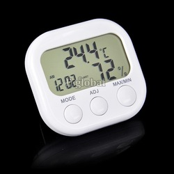 Indoor Digital Thermometer Hygrometer Clock KS-005 White Free Shipping TK0440(China (Mainland))