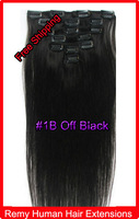 "20"" 22"" Clip In Virgin 100% Remy Human Hair  Extensions #1B Off Black 100g"