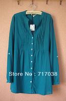 Fashion 100% cotton comfortable slim waist lacing shirt skirt V-neck long-sleeve shirt  ultralarge Free shipping