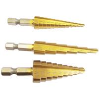 3pcs 28 Size Titanium Coated Step Drill Bit Cutting Tools Bits Drills Smoother Drill Bit Set Step Bit Tool Free shipping