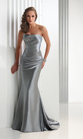 2013 Hot Sexy Mermaid Strapless Beaded Designer Open back Stretch Satin Silver Evening Dresses