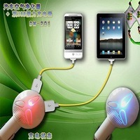 50pcs free shipping led light +air cleaner dual 2 usb port car charger for iphone 5  for samsung for usb mobile phones