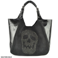 2014 NEW ARRIVAL Black Color Metallic Skull Slouch Bag With Hasp Lady Fashion Handbag /Free shipping Wholesale QQ1595
