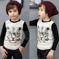 2014 spring tiger boys clothing  baby child long-sleeve T-shirt  basic  freeshipping
