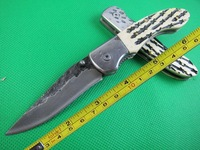 New 7'' Bone Handle High-carbon stainless Handmade Damascus Custom Forged Steel Pocket Folding Knife B26