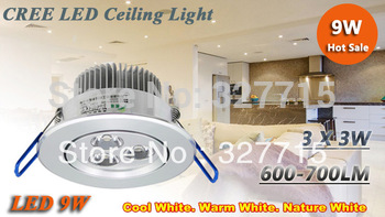 FREE SHIPPING !! New Arrival led light 9W Led Fixture Ceiling Downlight bulb 110-240V High Quality Led Down lamp lighting 10pcs