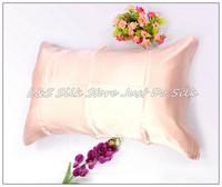 Free shipping/100% silk pillowcase/2 sides silk/pillow case/cover/envelope back/plain dyed/silk bedding/dark pink/#ls1503-8
