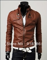 2013 fashion Classic Men's PU Leather Coat jacket 2 Colors 4 Sizes Black,Brown M,LXL, XXLfree shopping