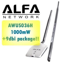 ALFA AWUS036H Wireless WiFi Network Adapter WLAN G 1W USB Adapter 1000mW with 2dBi Antenna and 9dbi Antenna & Mount LAN Gain