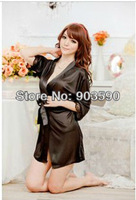 Free shipping 1piece bargain price Summer female faux silk vis   bathrobes lace underwear the temptation