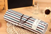 vintage srtip canvas Pencil pen Roll Case Pocket organizer storage Makeup cosmetic stationery bag