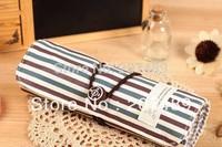 vintage srtip canvas Pencil pen Roll Case Pocket organizer storage Makeup cosmetic stationery bag whcn+