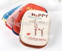 cartoon canvas Pencil pen Case Pocket organizer storage Makeup cosmetic stationery bag with zipper whcn+