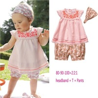 2013 new Free shipping ! 5setlot,kids 3pcs set scarf+short sleeve pink T-shirt+short pant,girl's suit, baby wear.