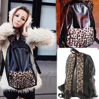 Free shipping hot new fashion tide bag leopard grain rivet backpack students female back pack