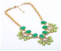 2013 Hot Sale Fashion  Zinc Alloy/ Rhinestone/Crystal Pendants Choker Necklaces For Women Dress Nickel Free  Green Color