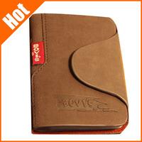 new  genuine leather man 20 card holder case  foldable hasp letter retro design business card 7.7*10.6cm