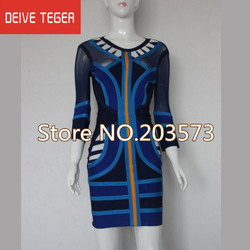 Free shipping 2013 new BLUE tribal mesh mid sleeve bandage Celebrity dress Cocktail Party Evening Dresses HL580(China (Mainland))