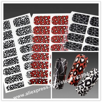 HOT!! Free Shipping 10Pack/LOT Popular Fashion LEOPARD Styles Metallic Nail Decals Nail Foil Wrap Sticker Salon Design Effects